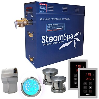 Steam Spa Royal 10.5 kW QuickStart Steam Bath Generator Package; Brushed Nickel