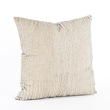 Saro Silver Beaded Cotton Throw Pillow
