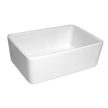 Whitehaus Collection Basichaus 23.5'' x 16'' Non Reversible Smooth Farmhouse Fireclay Kitchen Sink