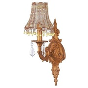 Jubilee Collection Taupe Vine Pearl Dangle Shade in Gold 1-Light Armed Sconce