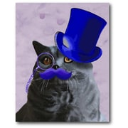 Courtside Market 'Gray Cat w/ Blue Top Hat and Moustache' Framed Painting Print
