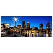 Metal Art Studio Boston at Night City Skyline Photographic Print; High Gloss