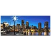 Metal Art Studio Boston at Night City Skyline Photographic Print; Satin-Matte