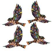 My Wonderful Walls 4 Piece Flying Floral Bird Wall Decal Set