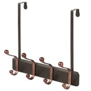 InterDesign York Over-the-Door 4-Hook Rack for Coats, Hats, Robes, Towels, Split Bronze (53973)