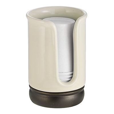 InterDesign York Disposable Paper Cup Dispenser for Bathroom Countertops, Vanilla/Bronze (75806)