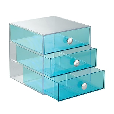 InterDesign 3-Drawer Plastic Organizer, Aqua (35372)