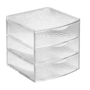 InterDesign Rain Plastic Large 3 Drawer Box, Clear (51650)