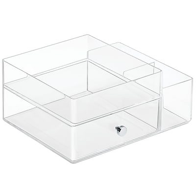 InterDesign Plastic Drawers with Side Organizer, Clear (39360)