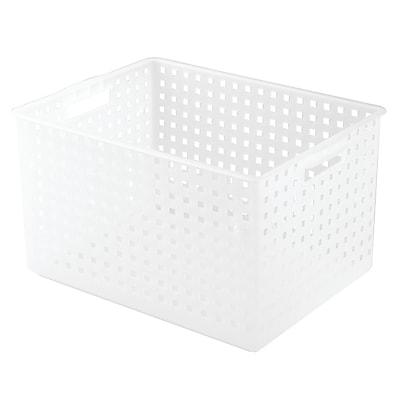 "InterDesign Modulon 10.3"" x 13.3"" x 18"" Household Storage Basket for Office, Garage, Bathroom and more, Frost (47000)"