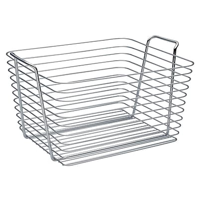 InterDesign Classico Wire Storage Bathroom Organizer Basket for Bath Towels and Heath/Beauty Products, Large, Chrome (93322)