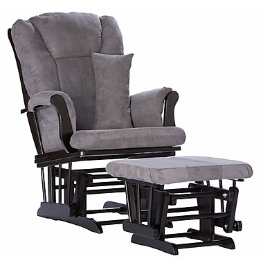 Stork Craft Tuscany Glider and Ottoman, Black/Grey