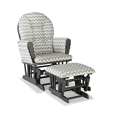 Stork Craft Hoop Glider and Ottoman, White/Grey Chevron
