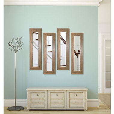 Rayne Mirrors Molly Dawn Brown Barnwood Mirror Panels (Set of 4); 32.5'' H x 11.5'' W x 0.75''D
