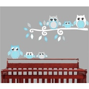 Presto Chango Decor Owl Nursery Wall D cor; Blue