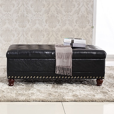 Bellasario Collection Elegant Classic Tufted Wood Storage Bench