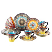 Euro Ceramica Zanzibar 16 Piece Dinnerware Set, Service for 4