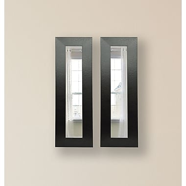 Rayne Mirrors Molly Dawn Black Wide Leather Mirror Panels (Set of 2); 36'' H x 10'' W x 0.75'' D