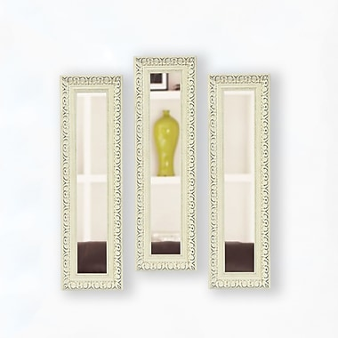Rayne Mirrors Molly Dawn French Victorian White Mirror Panels (Set of 3); 25.5'' H x 9.5'' W x 2'' D