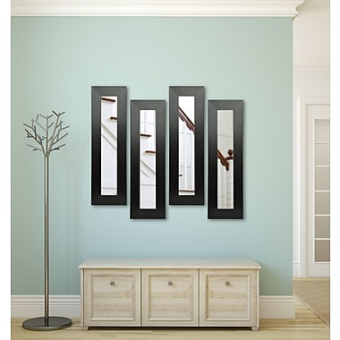 Rayne Mirrors Molly Dawn Black Wide Leather Mirror Panels (Set of 4); 36'' H x 10'' W x 0.75'' D