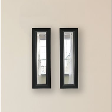 Rayne Mirrors Molly Dawn Attractive Matte Black Mirror Panels (Set of 2); 35'' H x 9'' W x 1''D