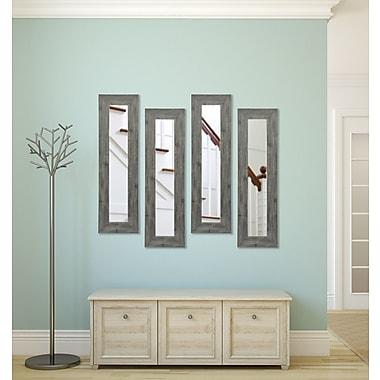 Rayne Mirrors Molly Dawn Grey Barnwood Mirror Panels (Set of 4); 39.5'' H x 11.5'' W x 0.75'' D