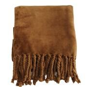 De Moocci Soft Fringe Throw Blanket; Coffee