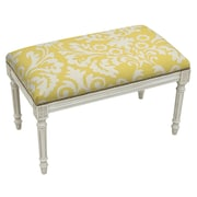 123 Creations Floral Upholstered and Wood Bench; Mustard