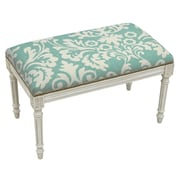 123 Creations Floral Upholstered and Wood Bench; Aqua