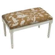 123 Creations Floral Upholstered and Wood Bench; Brown