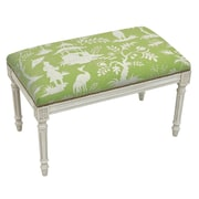 123 Creations Floral Upholstered and Wood Bench; Chartreuse Green