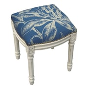 123 Creations Floral Coral Botanical Linen Upholstered Vanity Stool; Navy Blue