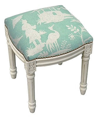 123 Creations Floral Chinoiserie Linen Upholstered Vanity Stool; Aqua