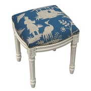 123 Creations Floral Chinoiserie Linen Upholstered Vanity Stool; Navy Blue