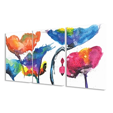 Stupell Industries Painted Look Rainbow Poppy Flowers 3 Piece Framed Painting Print on Canvas Set