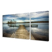 Stupell Industries Dock Overlooking Island 3 Piece Photographic Print Canvas Set
