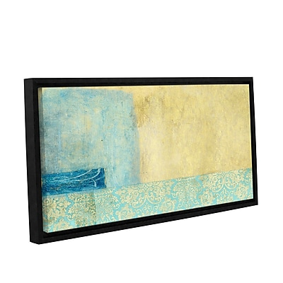 ArtWall Gold and Blue Banner by Elena Ray Framed Painting Print on Wrapped Canvas; 18'' H x 36'' W