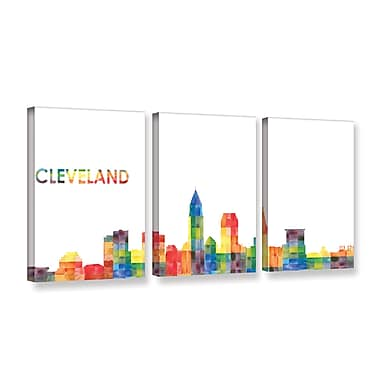 ArtWall Cleveland by Revolver Ocelot 3 Piece Graphic Art on Wrapped Canvas Set; 24'' H x 48'' W