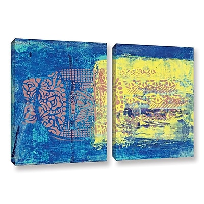 ArtWall Blue w/ Stencils by Elena Ray 2 Piece Painting Print on Wrapped Canvas Set; 24'' H x 36'' W WYF078278526536
