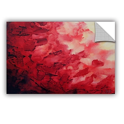 ArtWall Red Watery Abstract by Shiela Gosselin Removable Painting Print; 12'' H x 18'' W