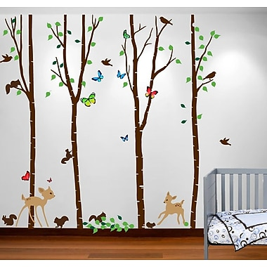 Innovative Stencils Birch Tree Forest w/ Deers and Flying Birds Nursery Wall Decal; 108''