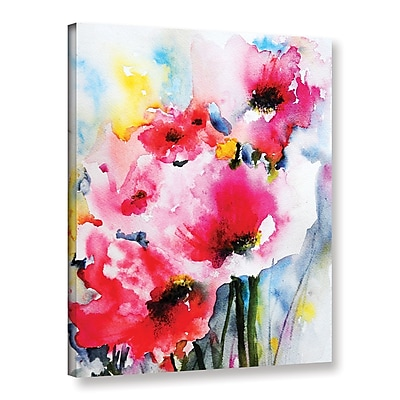 ArtWall Pink Poppies by Karin Johannesson Painting Print on Wrapped Canvas; 48'' H x 36'' W