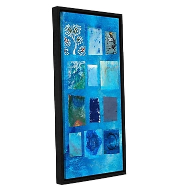 ArtWall Blue Tree Collage by Elena Ray Framed Painting Print on Wrapped Canvas; 18'' H x 36'' W