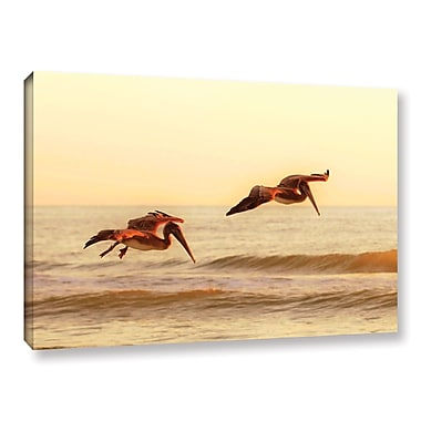 ArtWall Pelicans At Sunset by Lindsey Janich Photographic Print on Wrapped Canvas; 24'' H x 36'' W