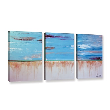ArtWall Turquiose And Gold by Shiela Gosselin 3 Piece Painting Print on Wrapped Canvas Set