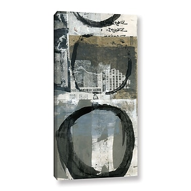 ArtWall Black Ink Enso Circle by Elena Ray Painting Print on Wrapped Canvas; 48'' H x 24'' W