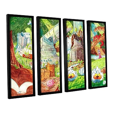 ArtWall Sheep Forest by Luis Peres 4 Piece Framed Graphic Art on Canvas Set; 24'' H x 32'' W