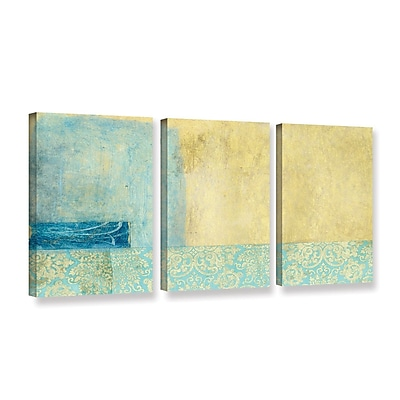 ArtWall Gold And Blue Banner by Elena Ray 3 Piece Painting Print on Wrapped Canvas Set WYF078278524874
