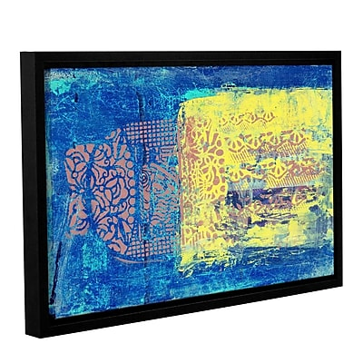 ArtWall Blue w/ Stencils by Elena Ray Framed Painting Print on Wrapped Canvas; 16'' H x 24'' W WYF078278525953