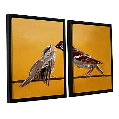 ArtWall Sparrows by Lindsey Janich 2 Piece Framed Painting Print on Canvas Set; 24'' H x 36'' W